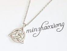 Ancient Silver Bronze Tibetan Silver Celtic Triquetra Trinity Knot Charms Pendant Statement Necklace Vintage Chain Jewelry 6pcs