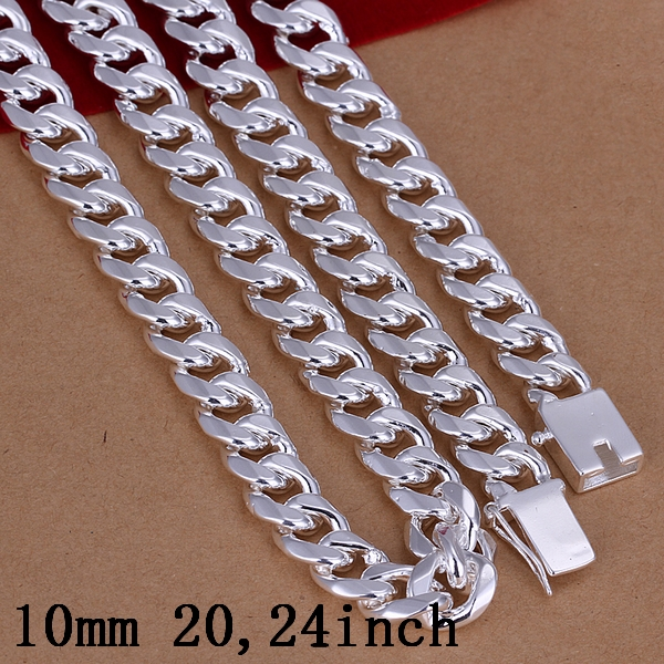 Men's 20'' 50cm 10mm 925 stamped silver plated necklace 95g solid snake chain n011 gift pouches free shipping