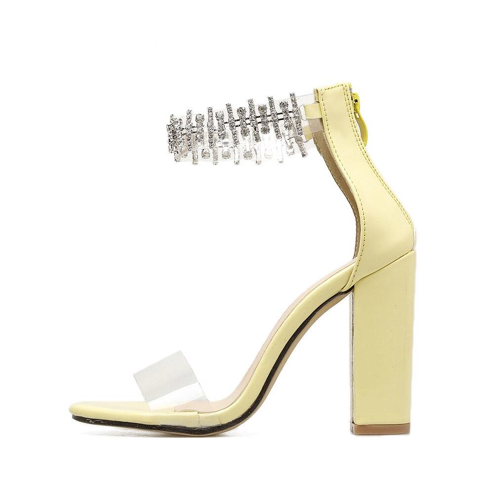 Sandalias Thikck Verano Amarillo Aiykazysdl Rhinestone Zapatos Correa Mujeres Cuadrados Cristal Lujo Boda Pvc Talones Black yellow Bombas Bloque Claro twEqqB6