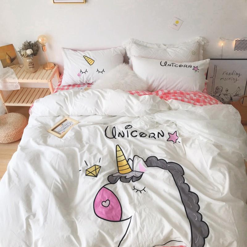 Unicorn Bedding White Green Washed Cotton Shabby Duvet Cover Bedding Set Relaxed Soft Natural Wrinkled Twin Queen King Bed sheet - 2