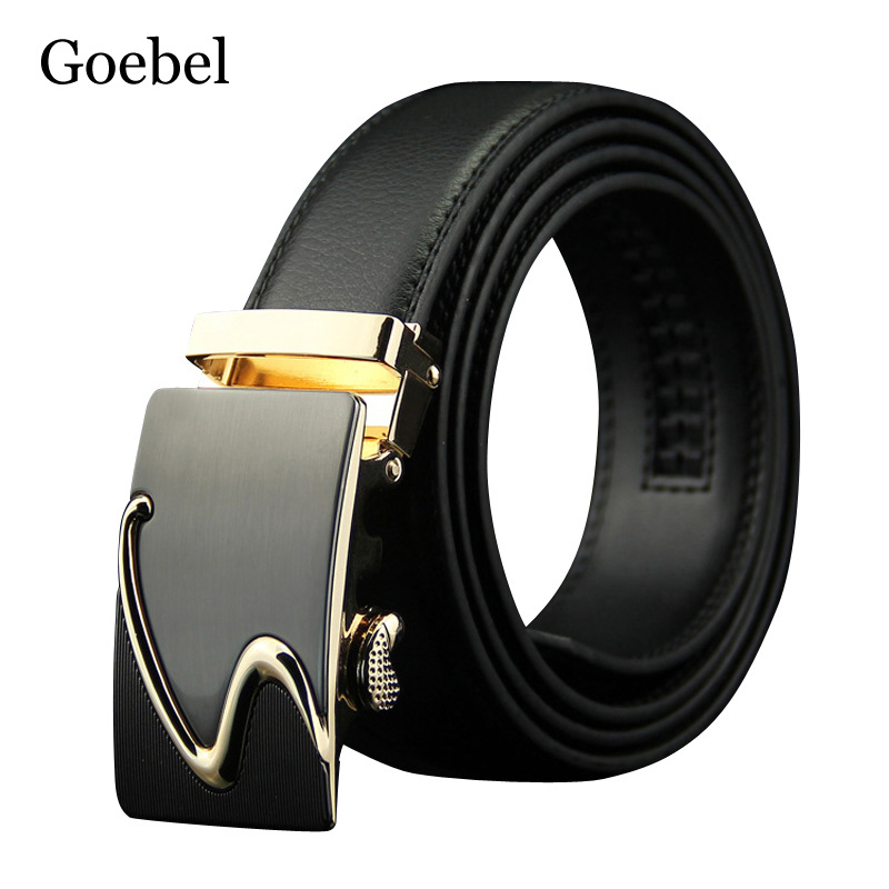 Goebel Popular Men Belt Brand Individuality Automatic Buckle Mens Belts Fashion Split Leather Men's Casual Belt men automatic buckle real cowhide cross double stitched leather belt