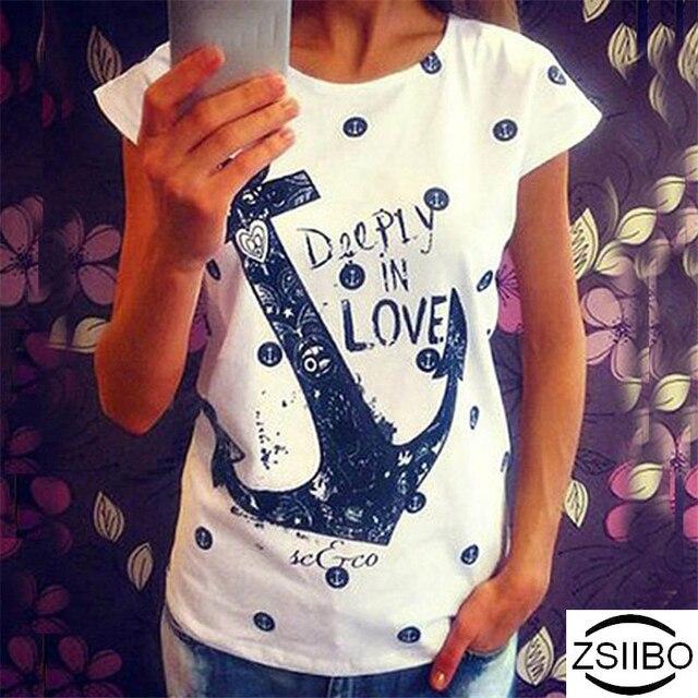 ZSIIBO Summer Tops Tee ladies short t shirt women Boat anchor t-shirt dress  female tshirt woman clothes plus size Ukraine