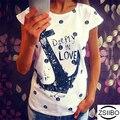 ZSIIBO Verano Tops Tee ladies short t shirt mujeres Barco ancla camiseta vestido camiseta femenina ropa de mujer más tamaño Envío gratis