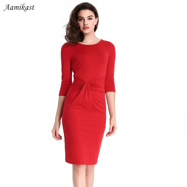 AAMIKAST E49 Women Dresses Hot Sale Elegant O neck Three Quarter Sleeve  Sheath Party Vintage Business Dresses XL XXL XXXL-in Dresses from Women s  Clothing ... 2f012e810eb6