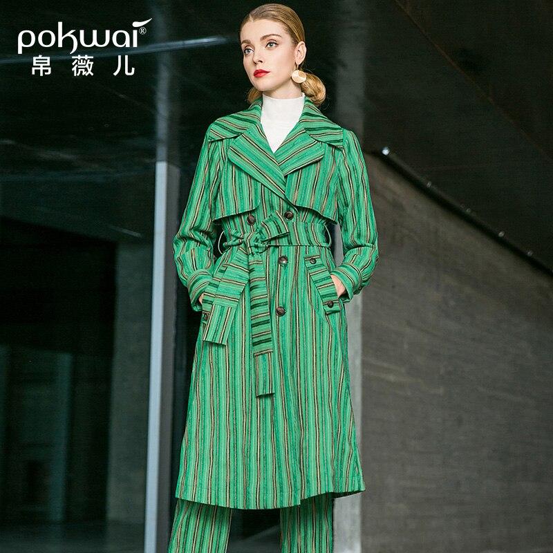 POKWAI осень Для женщин 2018 новый костюм воротник галстук пальто Тонкий Мода строчки контрастного Цвет в полоску длинный плащ пальто