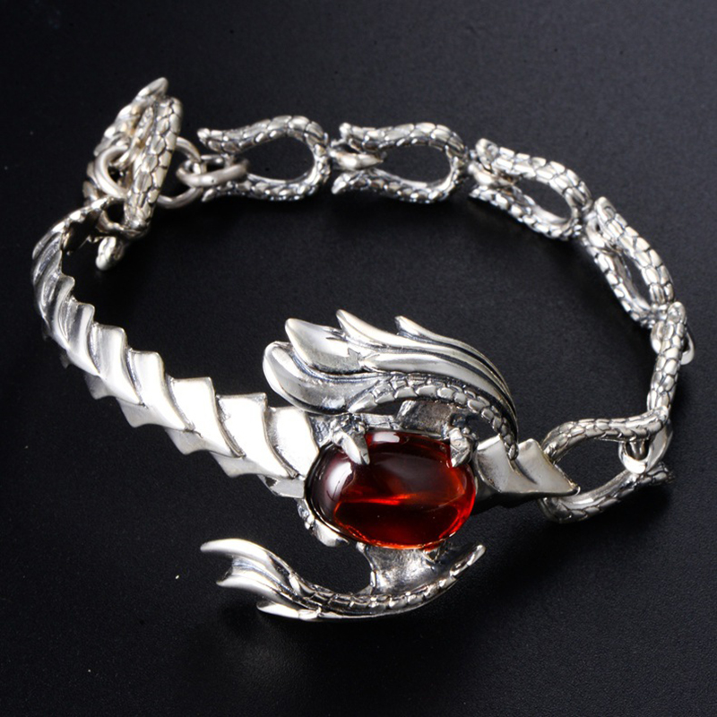 Pure 925 Sterling Silver Scorpion Bracelets for Men Punk Rock Vintage Thai Silver with Garnet Bracelet Male Fashion Jewelry Gift
