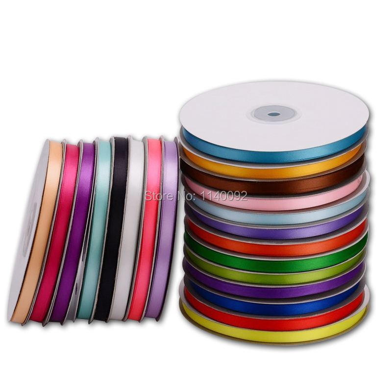 Сплошной цвет 6 мм атласные ленты ремня Упаковка подарков Свадебные украшения 25 М ролл 20 рулонов минимальный заказ смешанные цвета доступны