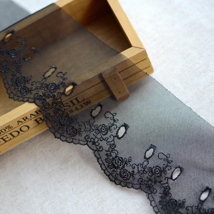 ⊱1/metro negro malla de encaje bordado soluble 8 cm - a797