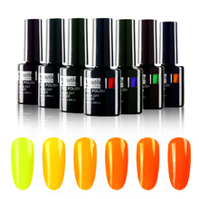 1pc Eco-friendly UV LED Rendam Off Warna Kuning Neon Nail Gel Polish 10ml