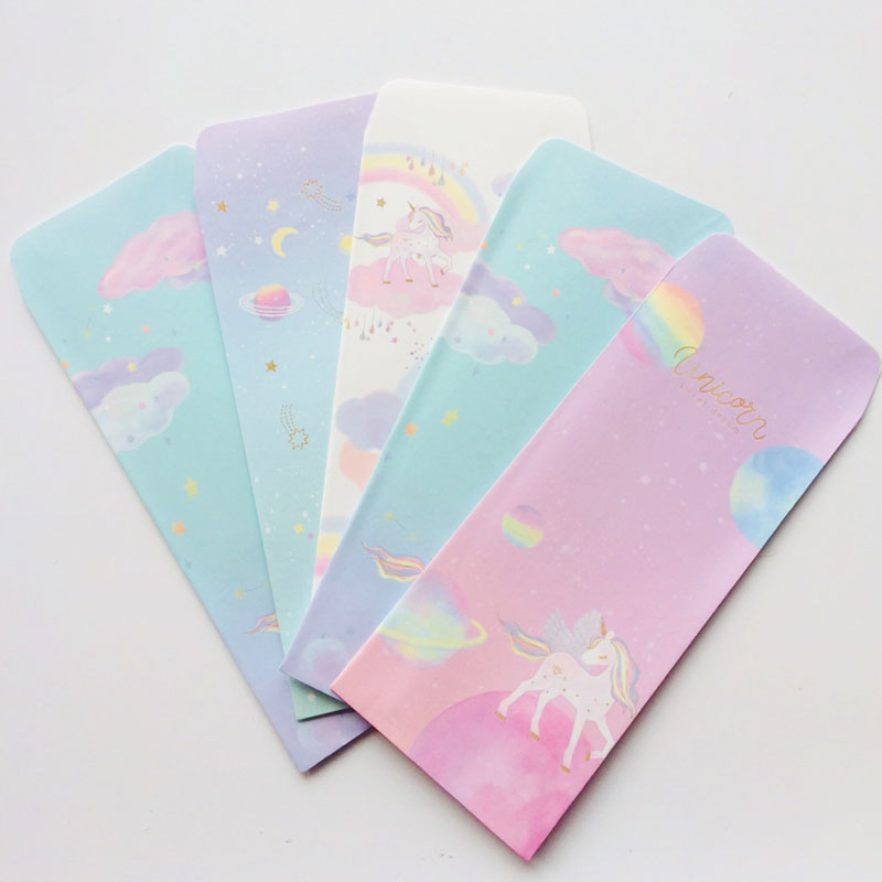 5pcs /lot Fresh Rainbow Unicorn Cartoon Paper Envelope Creative DIY Tool Greeting Card Cover