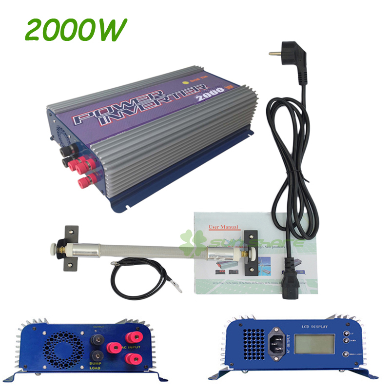 2KW 2000W Grid Tie Inverter with Dump Load for 3 Phase AC Wind Turbine Grid Tie Inverter 45-90V Input LCD MPPT Pure Sine Wave mppt 2000w 2kw wind power grid tie inverter with dump load controller resistor for 3 phase 48v 60v 72v wind turbine generator