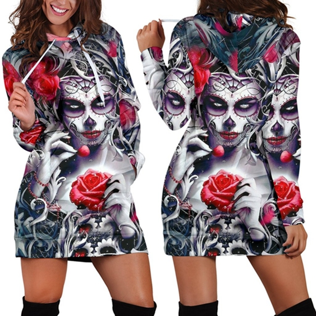 Skull Long Sleeve Bodycon Women Mini Dress Rose Floral Hoodies Sweatshirt Dress Autumn Femme Hooded Vestidos de festa Jurken 3XL 1