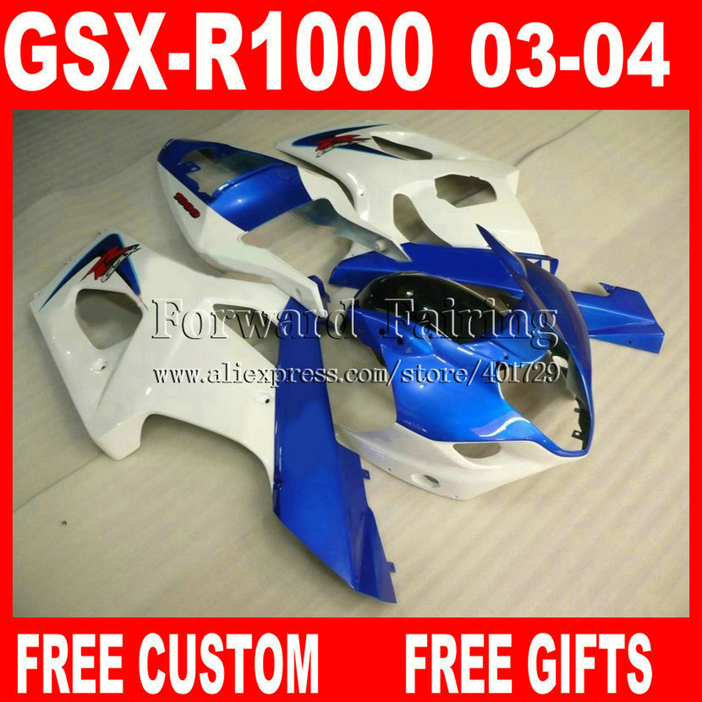 High grade Fairings for 2003 2004 SUZUKI GSXR1000 K3 fairing kits 03 04 GSXR 1000 white jewelry blue black GSXR 1000 GK836