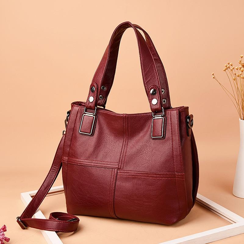 75ce3285183 Amberler Genuine Leather Women Handbags Luxury Designer Ladies Shoulder Bag  High Quality Sheepskin Large Capacity Casual