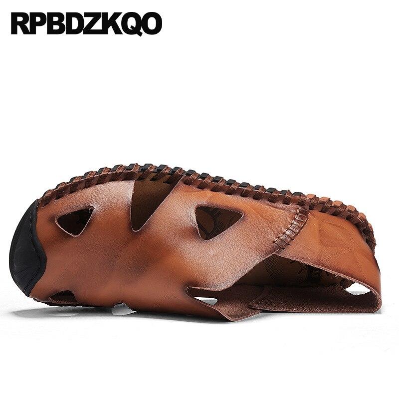 € 52.14 36% de DESCUENTO|Punta Cerrada Marca Famosa Negro Marrón 2018 Suave Zapatillas Sandalias Piel Genuina Casual Verano Diseñador De Zapatos