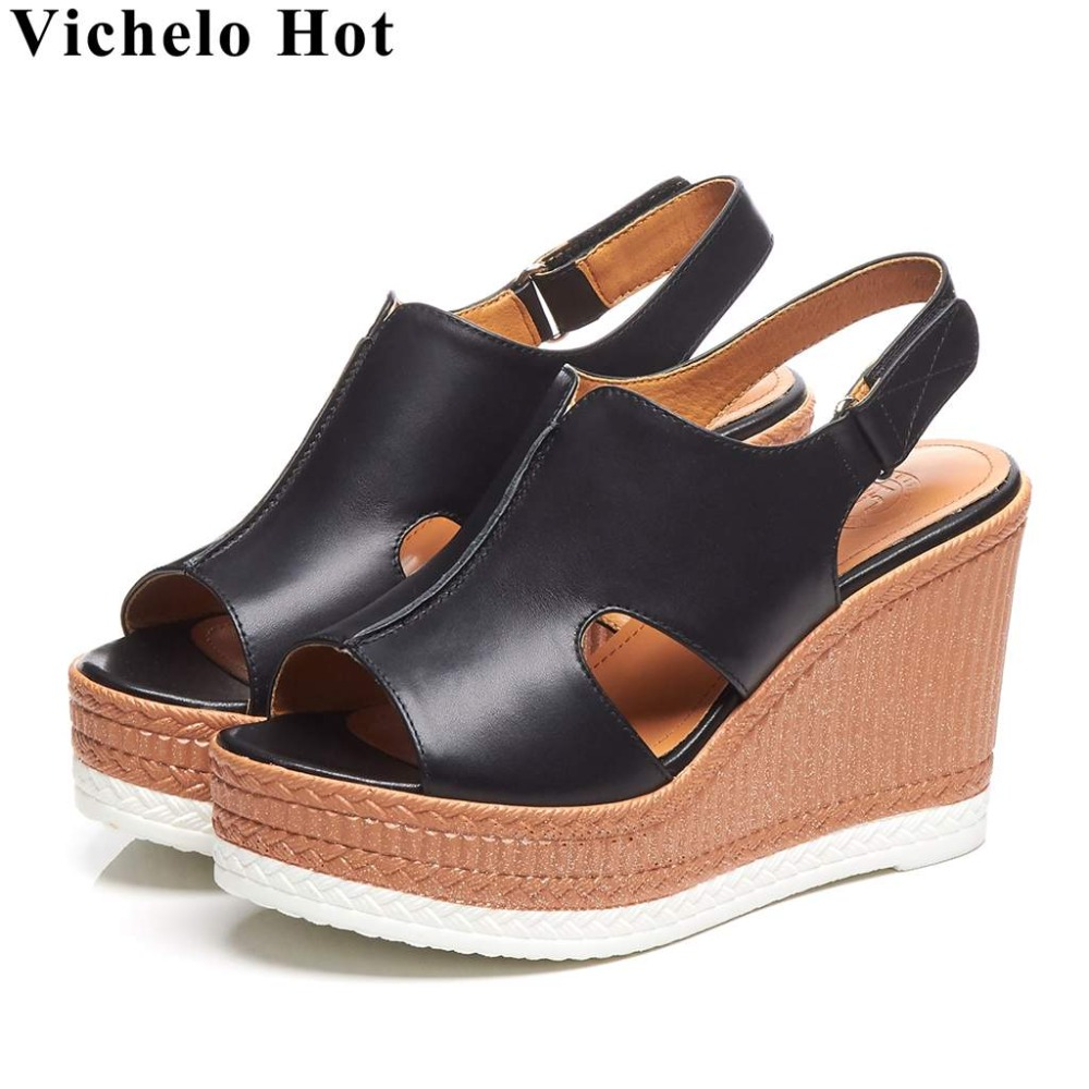 Vichelo Hot real cow leather wedges high heels wedges platform peep toe hook&loop design slingback daily wear women sandals L6f7Vichelo Hot real cow leather wedges high heels wedges platform peep toe hook&loop design slingback daily wear women sandals L6f7
