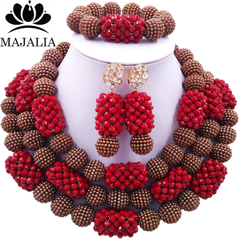 Majalia Fashion Charming Nigerian Wedding African Jewelry Set Brown and Opaque red Crystal Necklace Bride Jewelry Sets 3SZ078Majalia Fashion Charming Nigerian Wedding African Jewelry Set Brown and Opaque red Crystal Necklace Bride Jewelry Sets 3SZ078
