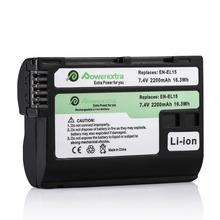 Powerextra EN-EL15 2200mAh 7.4v Rechargeable Camera Battery For Nikon D7100 D7000 D800 D610 D600 1 V1 MB-D11 MB-D15 Batteries