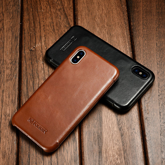 best sneakers 5118a e859c US $19.99 |icarer for iPhone X Case Cover Genuine Leather Back Shell for  iPhone X Apple Slim Cell Phone Protective Cover Skin Black Brown-in Fitted  ...