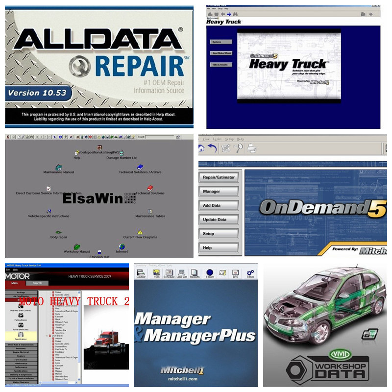 1TB Hard Disk Fit Win7 /Win8 / win xp Auto Repair Software Alldata 10.53(576G) + Mitchell on Demand5(161G) + hEAVY TRUCK+ elsa