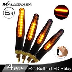 אותות הפעל אופנועים LED אור E24 זורם מים נצנץ מהבהב מחוון Bendable זנב להפסיק אות עבור הונדה/Kawasak