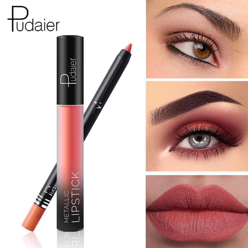 <font><b>Pudaier</b></font> Brand <font><b>lip</b></font> <font><b>gloss</b></font>+<font><b>Lip</b></font> Liner Waterproof Long Lasting 2Pcs/<font><b>Set</b></font> Sexy Nude Red Color Velvet Liquid <font><b>Lipstick</b></font> <font><b>Matte</b></font> <font><b>Cosmetic</b></font> Kit image