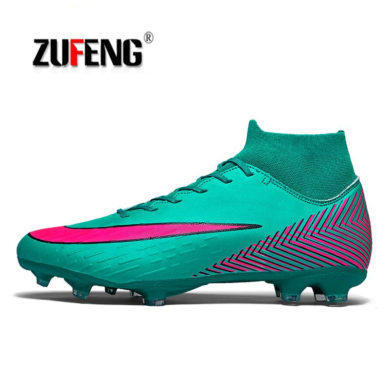 fc8b3ea8abb8 Men's High Top Training Ankle AG Sole Outdoor Cleats Football Shoes Spike  High Ankle Men Crampon Football Boots Original Cleats-in Soccer Shoes from  Sports ...