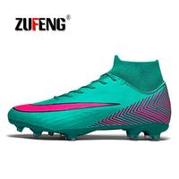 Men's High Top Training Ankle AG Sole Outdoor Cleats Football Shoes Spike High Ankle Men Crampon Football Boots Original Cleats