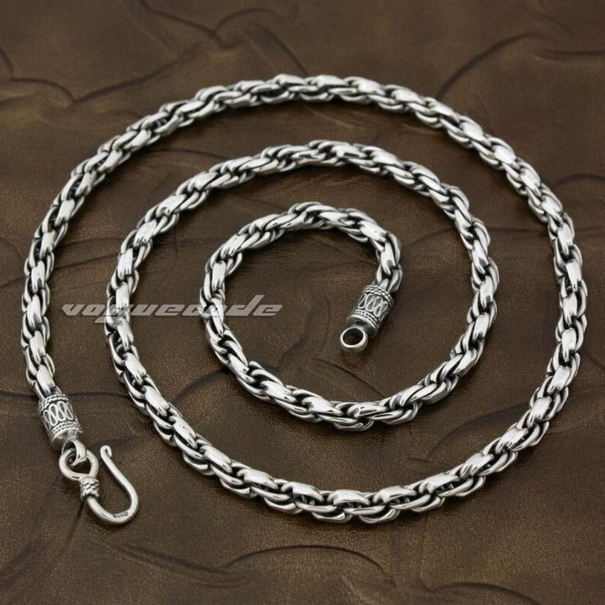 5mm 925 Sterling Silver Woven Double Link Chain Mens Biker