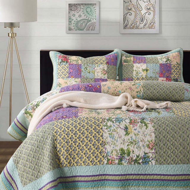 Quilted Cotton Bedspread Queen Size Bed Set Bed Coverlet Bed Cover