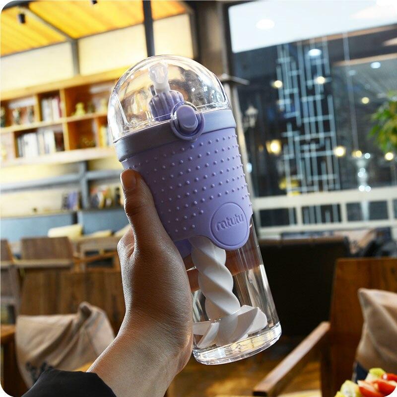 500 мл фитнес-бутылка для воды, портативная герметичная Тепловая солома, Однослойный пластиковый протеиновый порошок, размешивающий чайник для спорта на открытом воздухе и путешествий