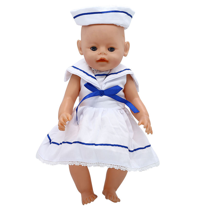 Baby Born Doll Clothes Nurse Dress + Hat Suit Fit 43cm Zapf Baby Born Doll Accessories Girl Christmas Gift X-193 drop shipping zapf baby born doll clothes 15 styles bowknot princess skirt dress fit 43cm zapf baby born doll accessories girl gift x 171