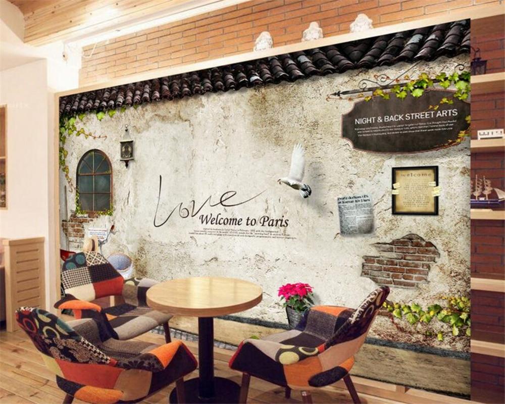 Beibehang Custom Tapete Retro Kalk Wand Windows Hintergrund Wandbild ...