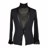 Sexy Latin Dancing Shirts For Male Black Cotton Long Sleeve Tops Adult Men Ballroom Professional Breaking Dance Clothes 10384