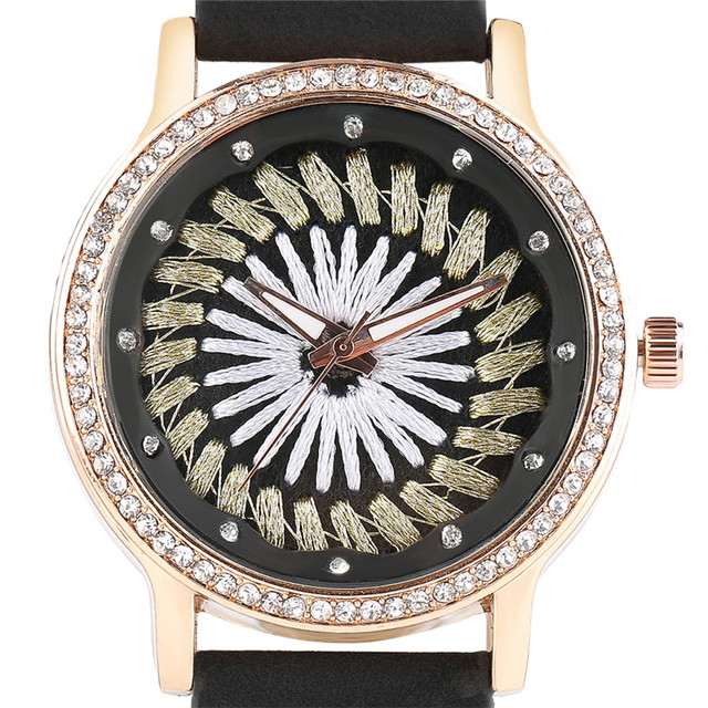 20ae0d703afc Women Watches Elegant Sewing Flower Dial Quartz Wristwatch Ladies Casual  Girl relogios Black White Blue Brown Red Pink Leather