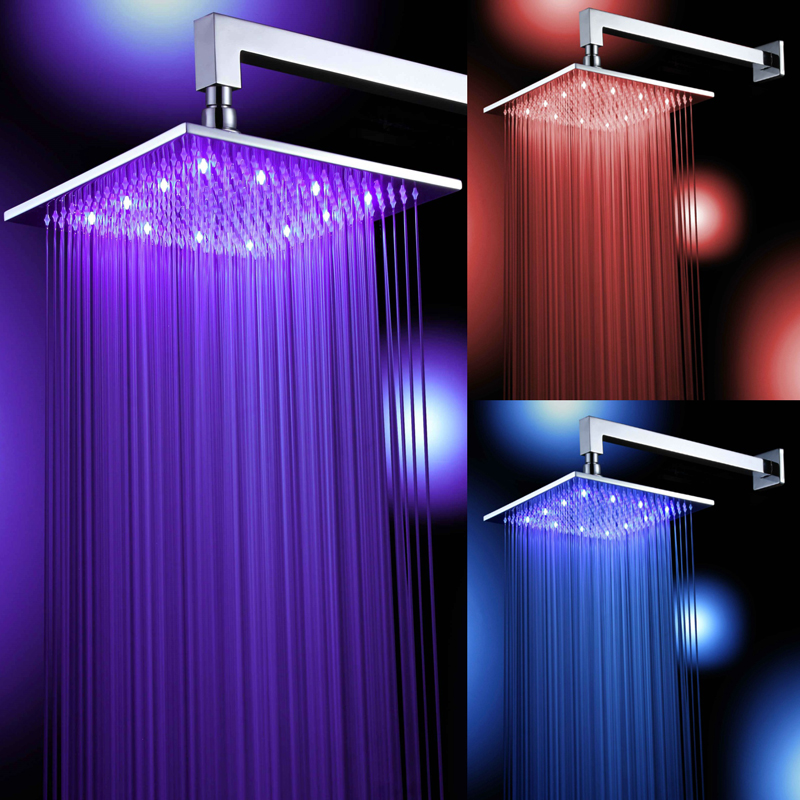 Free shipping square chrome brass LED shower head 8 10 12 16 inch rainfall shower faucet and shower arm promotion sale free shipping 10 inch led shower head with brass chrome 250mm rainbow colours as time changes light 20004