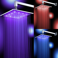 Free shipping square chrome brass LED shower head 8 10 12 16 inch rainfall shower faucet and shower arm