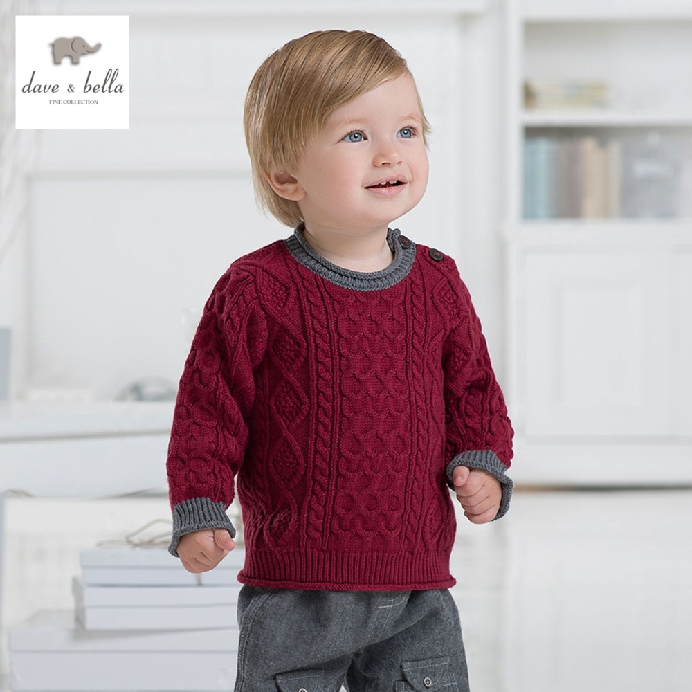 ФОТО DB1185 dave bella spring autumn toddlers sweater infant clothes baby preppy style sweater baby boy cotton wool sweater