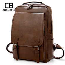 Waterproof PU Leather Men Backpack Student School Bags Casual Travel Backpack Sports Men Large Capacity Laptop Backpack Male цена 2017