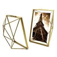 Aqumotic 3D Diamant Metalen Frame Dubbelzijdig Glas Volledige Zwart metalen Fotolijst 1 st Outdoor Art Grote Goud Metalen Frame vierkante