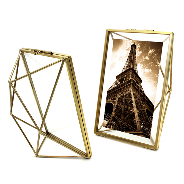 aqumotic 3d diamond metal frame double sided glass full black metal picture frame 1pc outdoor art - Metal Photo Frames