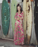 BIG SALE For Love Flower Embroidered Nude Mesh Dress O Neck 3 4 Sleeve Maxi