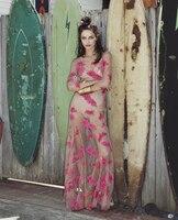 [VENTA GRANDE] el Amor Flor Bordada Malla Desnuda O-cuello 3/4 de La Manga Del Vestido Maxi de la Playa Vestido Atractivo de Las Mujeres Vestidos de Azul/Rojo XS ~ XL
