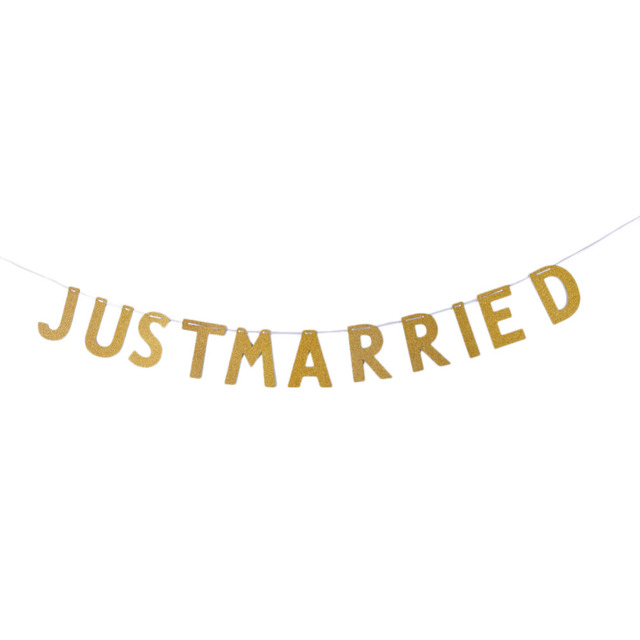02685304f02 US $2.07 22% OFF|3M Gold Sparkly Just Married Wedding Party Banner Garland  Glitter Photo Backdrop Wedding Party Decoration wedding favors -in Banners,  ...