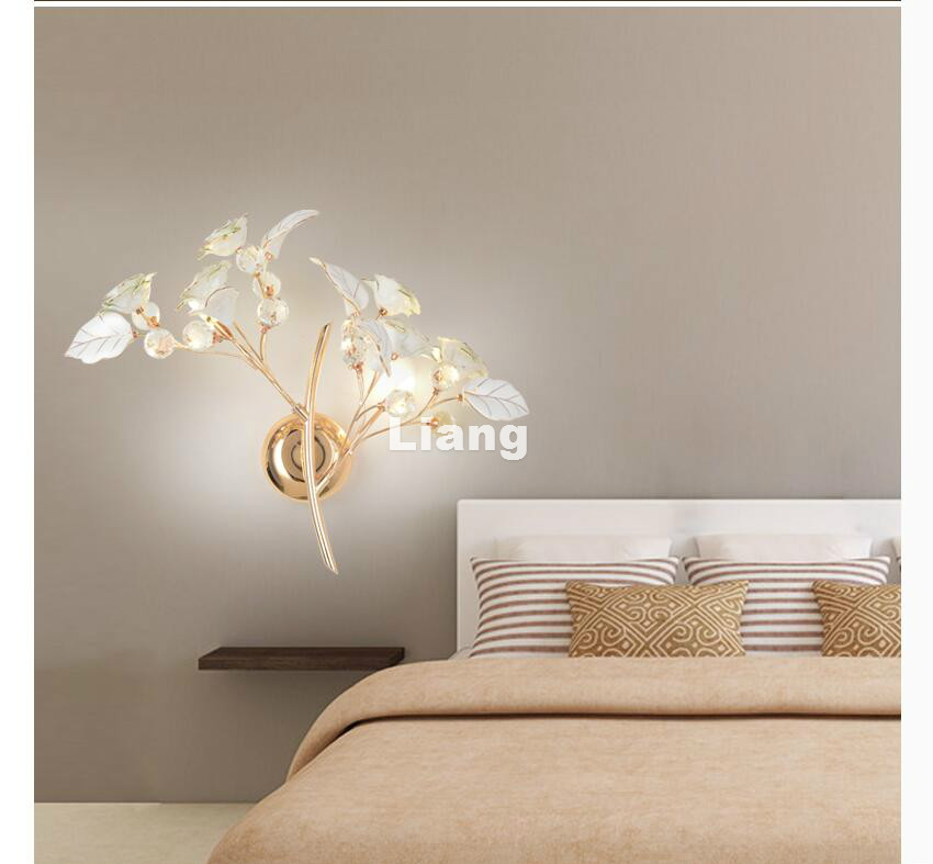 Decora цветочный домашний керамический стиль розы Хрустальный настенный светильник белый/красный/розовый кристалл G9 AC настенный светильник для спальни Бесплатная доставка
