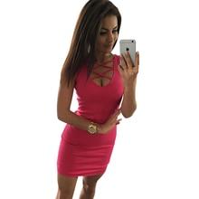 Summer Sexy Slim Women Dress Solid Color U-Neck Cross-Belt Dress Sleeveless Plus Size Package Hip Dress