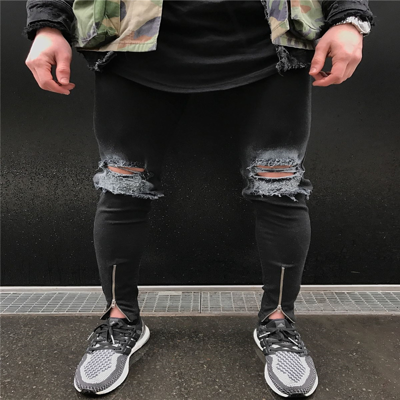 Skinny Ripped Jeans For Men Male Black Motorcycle Ankle Zipper Jeans Denim Pants Fashion Brand Swag Hole Biker Jeans 2016 fashion men biker jean skinny ripped motorcycle denim jeans casual patchwork stripe straight joggers pants for male