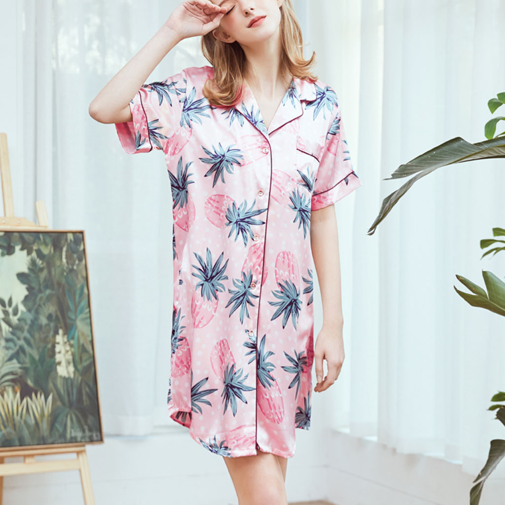 Sexy Sleepwear Women Summer Turn-down Collar Printed Home   Nightgowns   Sweet Cute Casual Daily Sleep Dress   Sleepshirts