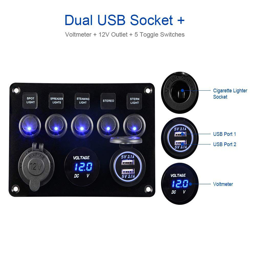 Cllena Dual USB Charger Socket 4.2A LED Voltmeter Dual 15A Outlets with 5 Gang Toggle Switch Multi-Functions Panel for Marine Boat Rv Camper Caravan Home Office Wall Plate etc. 12V Power Outlet