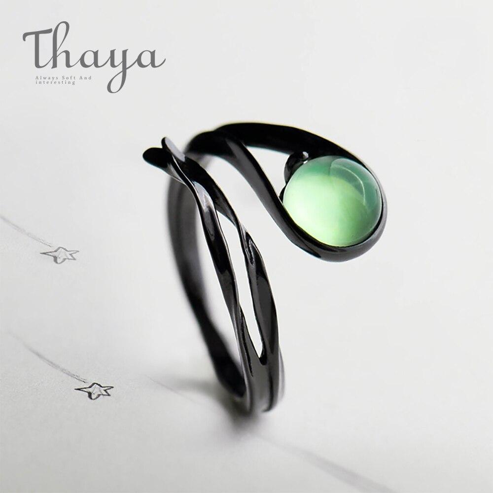 Thaya Fliegen Meteor Chalcedon Smaragd Ring Spannung Einstellung Vintage Edelstein Stein Schwarz S925 Sterling Silber Schmuck Ring Für Frauen